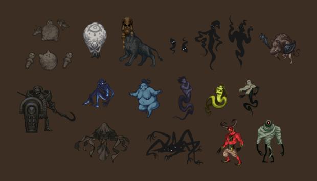 Différentes créatures qui hantent les couloirs du temple